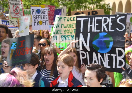Young people lobby for action to prevent climate change at the  Manchester Youth Strike 4 Climate protest on 24th May, 2019, in Manchester, uk - Stock Photo