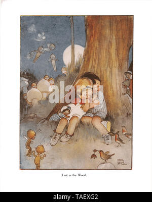 The Lucie Attwell Annual - 1922. Illustration from the story 'The Babes in the Wood' in the first ever Lucie Attwell Annual of 1922 - Stock Photo