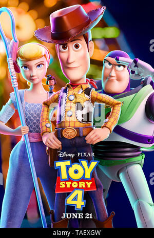 Toy Story 4 (2019) directed by Josh Cooley and starring  Keanu Reeves, Christina Hendricks, Tom Hanks and Tim Allen. The toys are joined by a new arrival and undertake a road trip. - Stock Photo