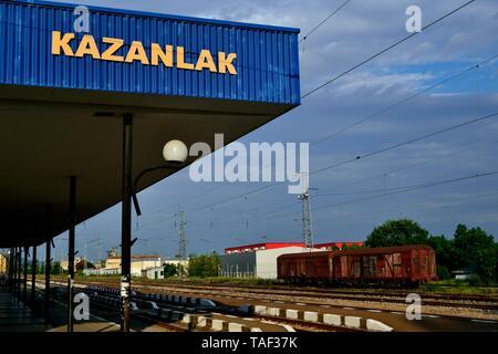 Train station in KAZANLAK. Province of Stara Zagora.BULGARIA                                              - Stock Photo