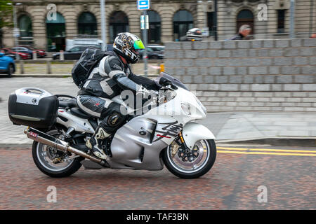 Liverpool, Merseyside. 24th May, 2019 UK Weather: Fine, calm condition as up to 200 motorcyclists queue to board the morning ferry to the Isle of Man to attend the island TT races.  Extra ferry services are to be added to cope with the large demand for spectators travelling to attend this year's top motor sport week of qualifying event and the fastest road race on the planet. Credit: MediaWorldImages/AlamyLiveNews - Stock Photo