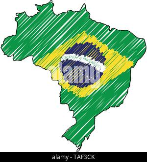 Brazil map hand drawn sketch. Vector concept illustration flag, childrens drawing, scribble map. Country map for infographic, brochures and - Stock Photo