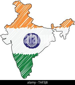 India map hand drawn sketch. Vector concept illustration flag, childrens drawing, scribble map. Country map for infographic, brochures and - Stock Photo