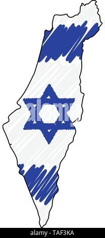 Israel map hand drawn sketch. Vector concept illustration flag, childrens drawing, scribble map. Country map for infographic, brochures and - Stock Photo
