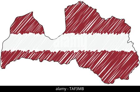 Latvia map hand drawn sketch. Vector concept illustration flag, childrens drawing, scribble map. Country map for infographic, brochures and - Stock Photo