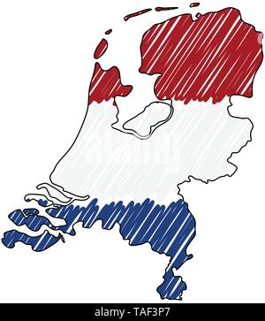 Netherlands map hand drawn sketch. Vector concept illustration flag, childrens drawing, scribble map. Country map for infographic, brochures and - Stock Photo