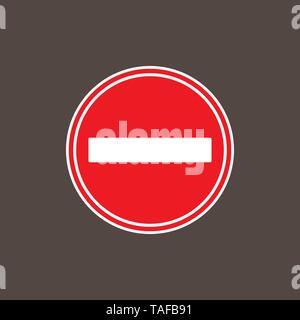 No entry sign. Vector illustration, flat design. - Stock Photo
