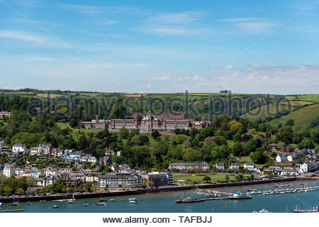 Looking across the River Dart towards Dartmouth and the Royal Naval College. - Stock Photo