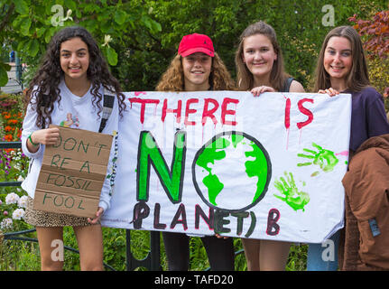 Bournemouth, Dorset, UK. 24th May 2019. Youth Strike 4 Climate gather in Bournemouth Square with their messages about climate change, before marching to the Town Hall.  There is no planet B, don't be a fossil fool, do not be a fossil fool signs. Credit: Carolyn Jenkins/Alamy Live News - Stock Photo