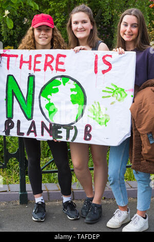 Bournemouth, Dorset, UK. 24th May 2019. Youth Strike 4 Climate gather in Bournemouth Square with their messages about climate change, before marching to the Town Hall.  There is no Planet B Credit: Carolyn Jenkins/Alamy Live News - Stock Photo