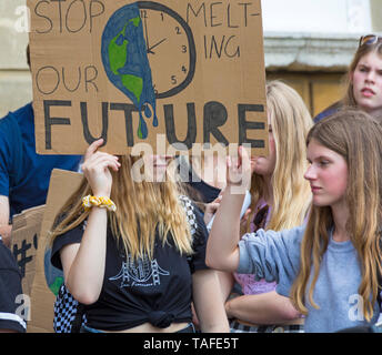 Bournemouth, Dorset, UK. 24th May 2019. Youth Strike 4 Climate gather in Bournemouth Square with their messages about climate change, before marching to the Town Hall.  Stop melting our future sign. Credit: Carolyn Jenkins/Alamy Live News - Stock Photo