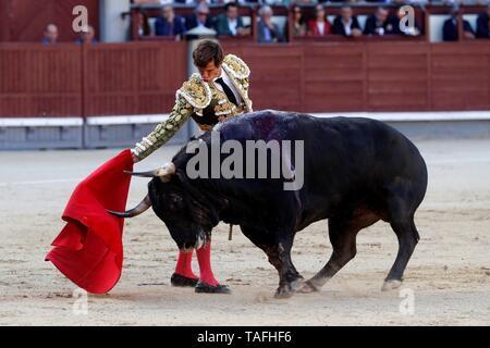 Madrid, Spain. 23rd May, 2019. Bullfighter Julián López 'El Juli' fights a bull during the 11th day of San Isidro bullfighting Fair at Las Ventas bullring in Madrid, Spain, 24 May 2019. Credit: Ballesteros/EFE/Alamy Live News - Stock Photo