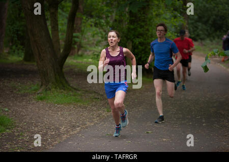 Glasgow, UK. 25th May, 2019. The 534th free and timed Parkrun event takes place in Pollok Country Park, with local running club Bellahouston Harriers doing a volunteer-takeover, with their club runners fulfilling all the volunteer positions on the run course, in Glasgow, Scotland, on 25 May 2019. This Parkrun was the 534th free and timed Parkrun 5km run held in the park in Glasgow's Southside, and is one of hundreds of such all-inclusive events held across the UK and internationally every weekend under the Parkrun banner. Credit: jeremy sutton-hibbert/Alamy Live News - Stock Photo