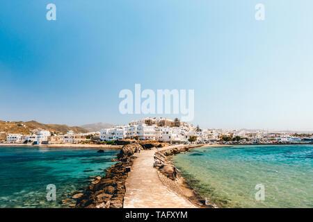 Cityscape of Naxos town on a sunny day, Naxos, Greece - Stock Photo