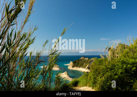 View of the cliffs at Cape Drastis, Corfu, Greece - Stock Photo