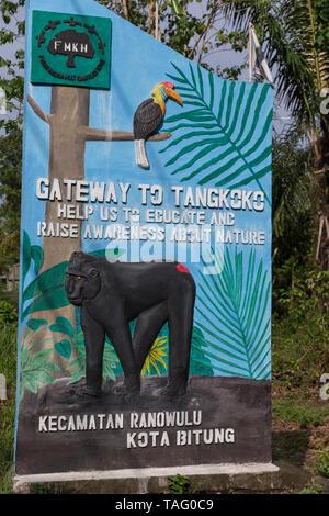 Tangkoko National Park, Sign at the entrance to the village of Tangkoko, Sulawesi, Celebes, Indonesia - Stock Photo