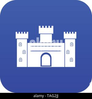 Medieval fortification icon digital blue - Stock Photo