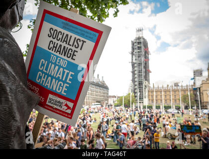 London- May 2019: Extinction rebellion  protest on Parliament Square - Stock Photo