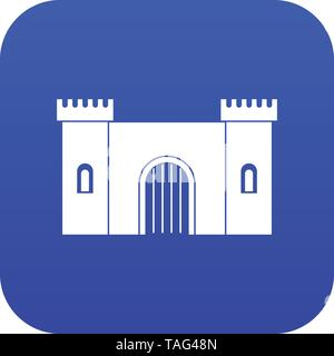 Fortress with gate icon digital blue - Stock Photo