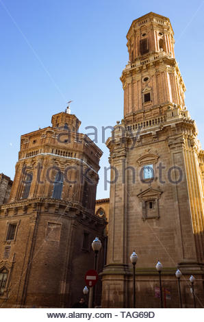 Tudela, Navarre, Spain - February, 13th, 2019 : 17th century Renaissance tower of the Cathedral of Saint Mary of Tudela in the Plaza Vieja square of t - Stock Photo