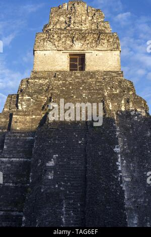Jaguar Temple Citadel Ancient Mayan Civilization Ruin at Plaza Central in World Famous Tikal National Park in Guatemala, a UNESCO World Heritage Site - Stock Photo