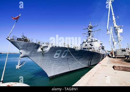 190521-N-QR145-048  NAVAL STATION ROTA, Spain (May 21, 2019) - The Arleigh Burke-class guided-missile destroyer USS Roosevelt (DDG 80) arrives at Naval Station Rota, Spain, May 21, 2019. Roosevelt, homeported in Mayport, Fla., is operating in the U.S. 6th Fleet area of operations in support of U.S. national security interests in Europe and Africa. (U.S. Navy photo by Mass Communication Specialist 2nd Class Krystina Coffey/Released) - Stock Photo