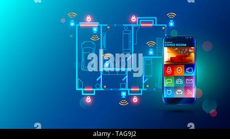 Safety system and video surveillance of smart home. cctv send video stream on smartphone via internet connection. Mobile device remotes security - Stock Photo