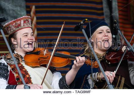 RIGA, LATVIA - MAY 4, 2019:  Festive concert in the city park. - Stock Photo