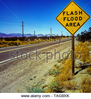 Mojave Desert Flash Flood sign - Stock Photo