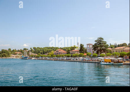 Beautiful and cozy medieval town of Rovinj, colorful with houses and church in Croatia, Europe. - Stock Photo