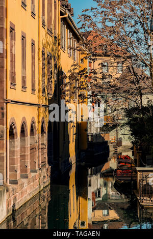 Colmar, Alsace, France, February 24, 2019. Cozy and beautiful streets of the French city on a sunny spring warm day - Stock Photo