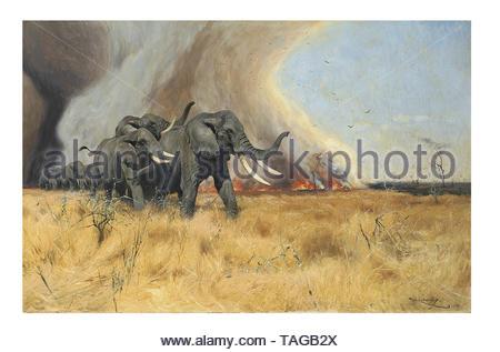 Elephant herd on the run - Stock Photo
