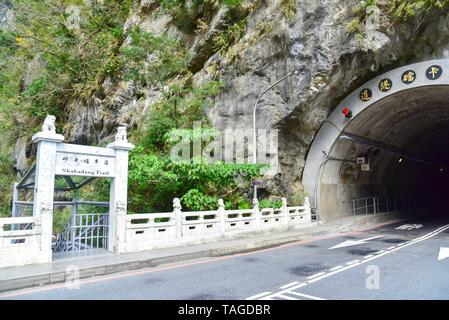 Entrance Gate to Shakadang Valley Trail in Taroko National Park - Stock Photo