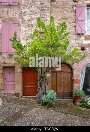 Rustic facade with old doors and a single tree in an urban setting of a small French village - Stock Photo