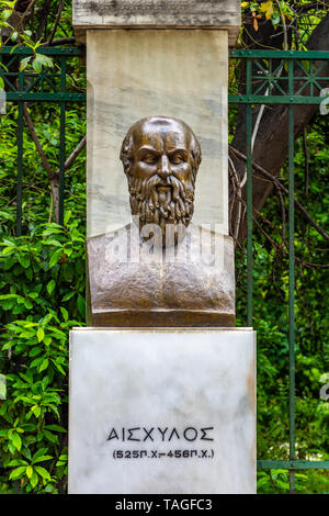 The bronze statue of the Greek tragic poet Aeschylus located near the Syntagma square in Athens, Greece - Stock Photo