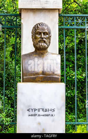 The bronze statue of the Greek tragic poet Euripides located near the Syntagma square in Athens, Greece - Stock Photo