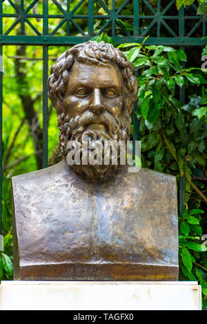 The bronze statue of the Greek tragic poet Sophocles located near the Syntagma square in Athens, Greece - Stock Photo