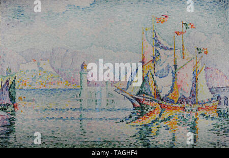 Paul Signac (1863-1935). French Neo-Impressionist painter. Antibes - Morning, 1914. National Museum. Warsaw. Poland. - Stock Photo