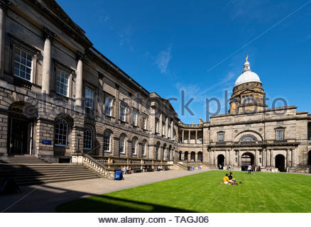 View of courtyard at Old College at University of Edinburgh, Scotland, Uk - Stock Photo