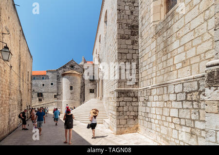 DUBROVNIK, CROATIA - JULY 13, 2016: Summer scene of the path leading to Ploce Gate and St. Sebastian church entrance steps in city of Dubrovnik, Croat - Stock Photo
