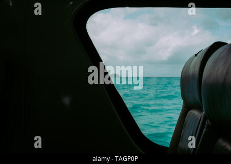View from the inside, a cabin of a boat. Selective focus. Copy space. - Stock Photo