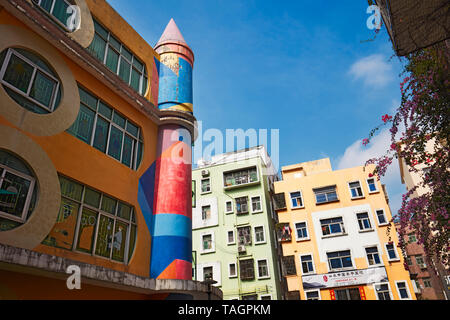 Colorful buildings in Dafen Oil Painting Village. Shenzhen, Guangdong Province, China. - Stock Photo