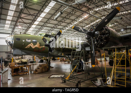 Boeing B-17 Flying Fortress USAF heavy bomber at the Imperial War Museum, Duxford, Cambridgeshire, UK - Stock Photo