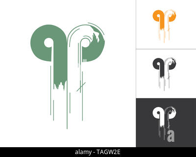 Alphabet a, p, q Logotype Linked Concept in Vector Illustration. Modern Abstract Letter Logo Design Elements in Orange Green Color with White Backgrou - Stock Photo