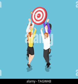 Flat 3d isometric business team holding target with arrow in the center. business target and teamwork concept. - Stock Photo