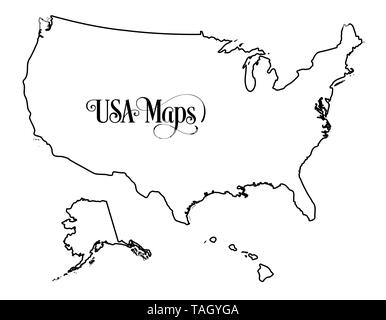 Outline map of United States of America Stock Photo ...