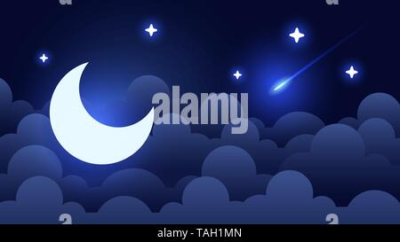 Mystical Night sky background with half moon, clouds and stars. Moonlight night. Vector - Stock Photo