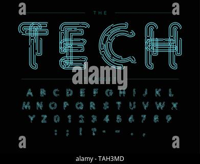 Cyber Tech Font. Contour scheme style vector alphabet. Letters and numbers for digital product, security system logo, banner, monogram and poster - Stock Photo