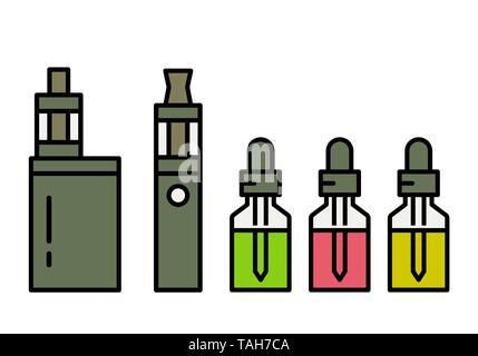Vaping device and accessory. Electronic cigarette and bottles with vape liquid. e- liquid, e-juice. Mockup of Vape bottle with liquid. Isolated vector - Stock Photo