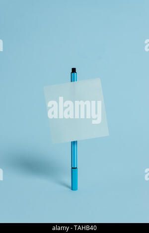 Ballpoint blank colored sticky note peaceful cool pastel fashion background - Stock Photo